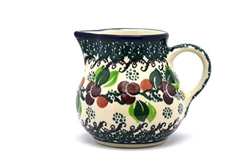 Polish Pottery Creamer - 4 oz - Burgundy Berry Green