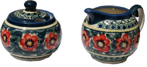 Polish Pottery Sugar Bowl and Creamer From Zaklady Ceramiczne Boleslawiec 694711-134 Art Unikat Signature Pattern Sugar Bowl Height 37 Creamer Height 34