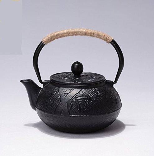 RUIKA Japanese Tetsubin Tea Kettle plum orchid bamboo pattern Cast Iron Teapot with Stainless Steel Black 600ml 20 oz