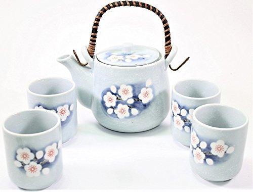 6 Blue Spring Flower Japanese Ceramic Tetsubin Teapot Teacups Infuser with Rattan Handle Tea Set
