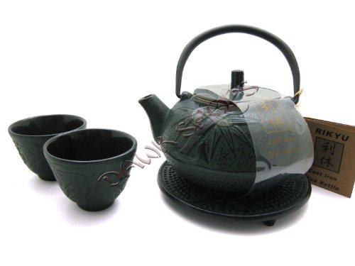 Green Bamboo Cast Iron Tetsubin Tea Pot Kettle Set w TRIVET
