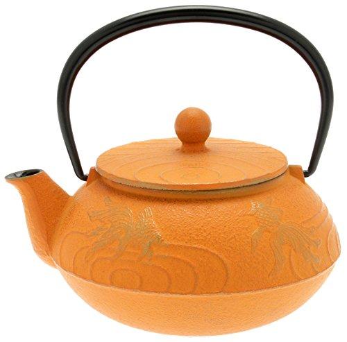 Iwachu Japanese Iron Tetsubin Teapot Gold and Orange
