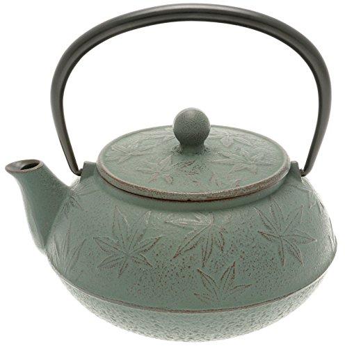 Iwachu Japanese Iron Tetsubin Teapot with Rikyu Green Maple Leaf BurgundyLichen Green