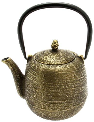 Kotobuki Japanese Iron Tetsubin Teapot GoldBlack Jujube