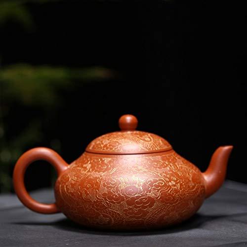 Chinese teapot Round Gilding Dragon Teapot Pot Handmade Pot Zhuni Yixing clay teapot Color  Zhu Mu