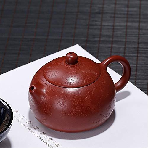 SHENLIJUAN Dahongpao ore dragon carving handmade beauties pot teapot dragons Color  Purple mud