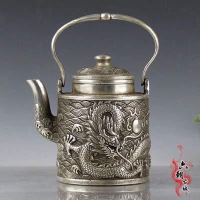 ZAMTAC Antique Bronze Hand-held Kettle Single Dragon teapot Home Decoration