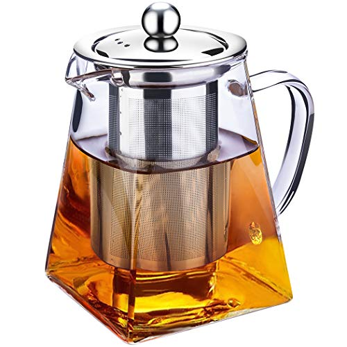 Clear Glass Teapot High Borosilicate Glass Tea-Heat Resistant Loose Leaf Teapot Pot With Removable 304 Stainless Steel InfuserA-750 ml Square