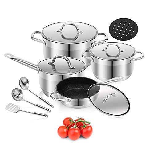 Cookware Set Stainless Steel Pots and Pans Sets Nonstick Kitchen Cookware Set Saucepan Casserole Frypan 3pcs stainless steel tools Bakelite mat 12 Piece 12-Piece