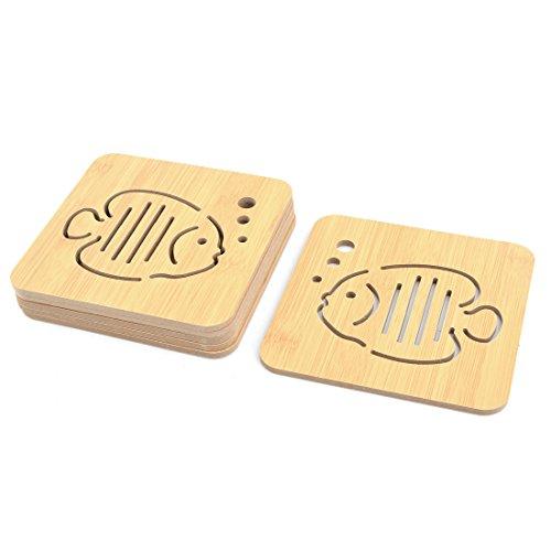 uxcell Wood Fish Print Dorm Kitchen Square Heat Resistant Teapot Cup Bowl Coaster Mat Pad 6pcs