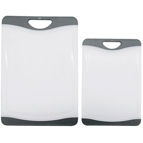 Cutting Board Set - 2 Dishwasher Safe Poly Plastic Kitchen Boards - Beats Wood, Glass, Bamboo -grey