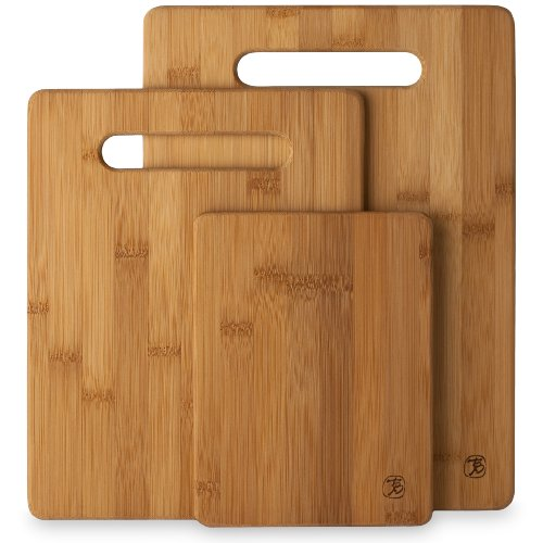 Totally Bamboo 3 Piece Bamboo Cutting Board Set, For Meat & Veggie Prep, Serve Bread, Crackers & Cheese, Cocktail