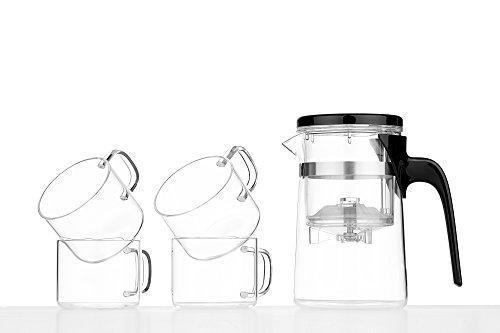 Glass Tea Coffee Set Pot Double Chamber Cups Transparent Mugs Modern Kitchen transparent black silver 169 oz