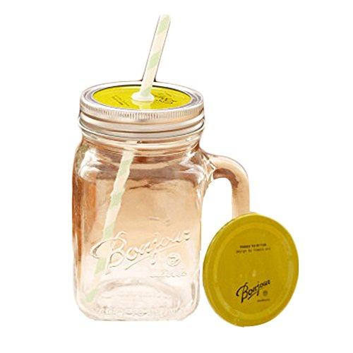 Transparent Mug Green Cap Glass Cups Juice Milk with Straw Creative Decor