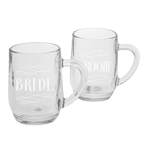 Ivy Lane Design Bride and Groom with Glass Mugs Set of 2 Flourish