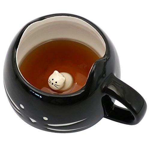Koolkatkoo Cat Coffee Mugs for Cat Lover Ceramic Kitty Tea Mug Gifts for Women Girls 12 oz Cup Black