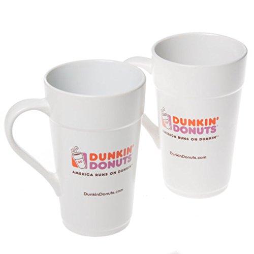 2 Pack of Dunkin Donuts 16 oz White Ceramic Coffee Mug 2013 Classic Replica