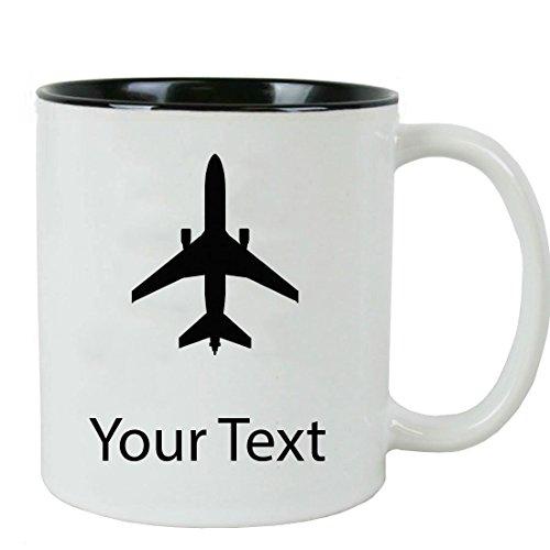 Personalized Custom Airplane 11 oz White Ceramic Coffee Mug with White Gift Box