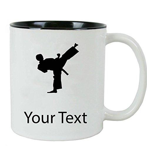Personalized Custom Karate 11 oz White Ceramic Coffee Mug with White Gift Box