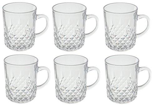 Teacoffee Clear Glass Elegant Mug Set 6