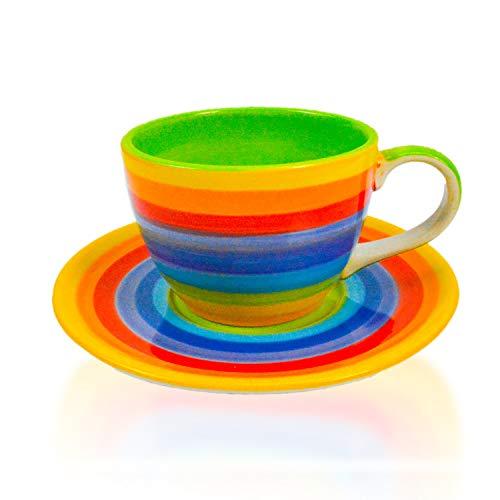 CinMin Rainbow Striped Multicolor Ceramic Stoneware Coffee Cup Medium wSaucer