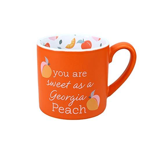 Pavilion Gift Company 73274 You Are Sweet As A Georgia Peach Peach-15oz Large Stoneware Coffee Cup Mug 15 oz Orange