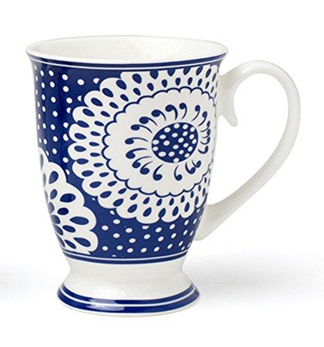 Blue And White Porcelain Coffee Mug Ceramics Milk Cup With Spoon - Fine Bone