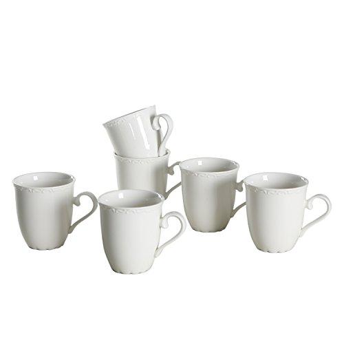 SOLECASA 12-OZSet of 6 White PorcelainCeramic TeaCoffee Mug SetGreat as Holiday GiftPresent