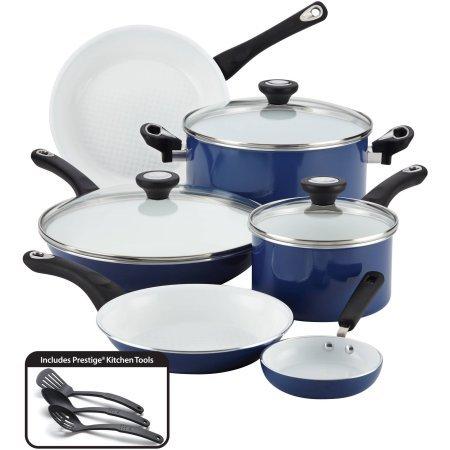 Farberware Purecook AluminiumCeramic Nonstick Cookware 12-Piece Cookware Set with Lids 17490 - Blue