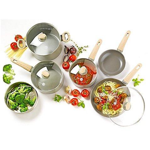 GreenPan Wood-Be 10-Piece Ceramic Nonstick Cookware Set in Grey