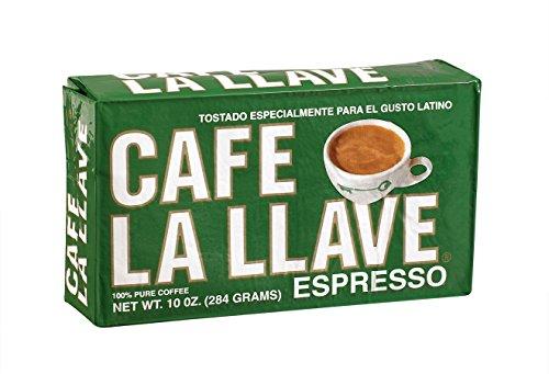Café La Llave Espresso Fine Grind 100 Pure Coffee Dark Roast Rich and Aromatic 10-Ounce Vacuum Sealed Brick Pack