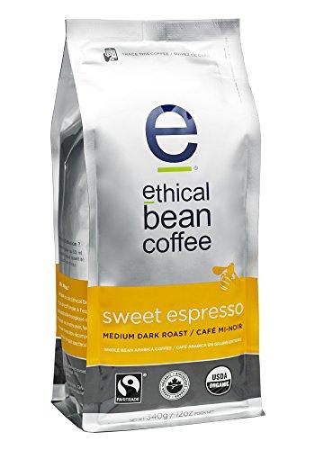 Ethical Bean Coffee Sweet Espresso Medium Dark Roast Whole Bean- USDA Certified Organic Coffee Fair Trade Certified - 12 ounce bag