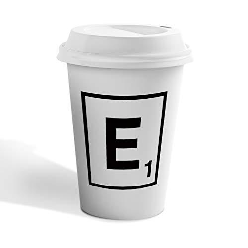Black E Scrabble Initial Monogram Letter E Ceramic Coffee Tumbler Travel Mug