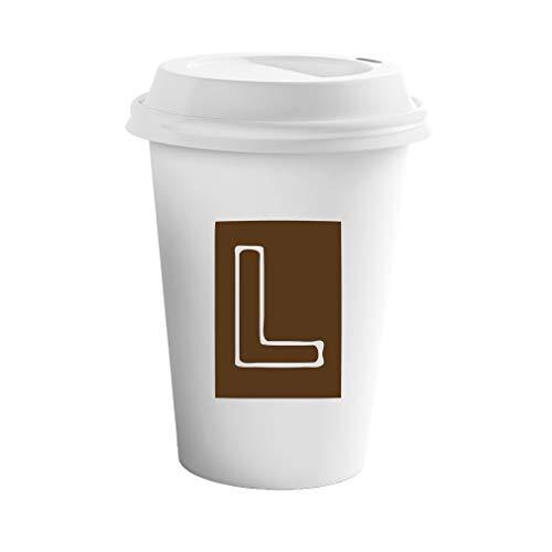 Brown L Square Initial Monogram Letter L Ceramic Coffee Tumbler Travel Mug