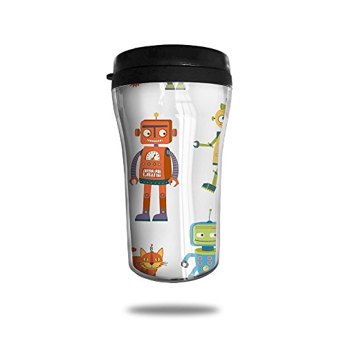 New Fashion 85oz Coffee Mugs Robot Dad Pap Mama Thermal Mug Cute Small Water Bottle Desk Portable Exquisite Novelty
