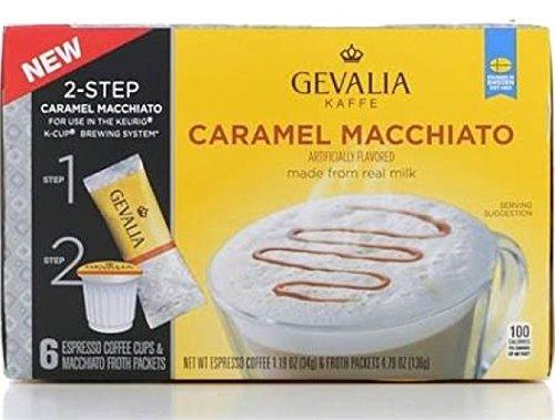 Gevalia Caramel Macchiato Keurig Espresso K-Cup Coffee PLUS Froth Packets - 6 Ct 49 oz Net Wt