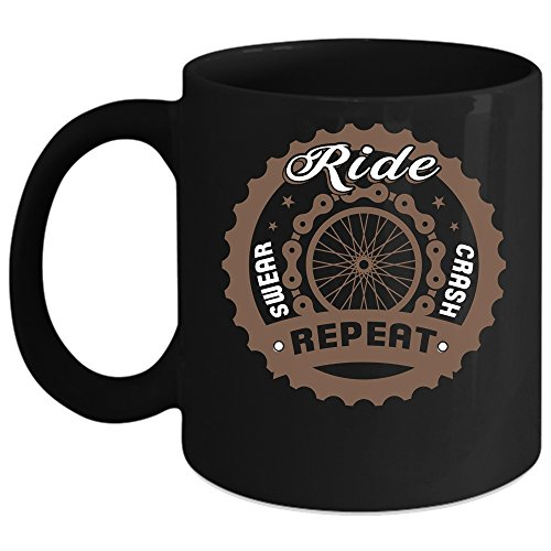 Ride Swear Crash Repeat Coffee Mug Outdoor Coffee Cup Coffee Mug Black