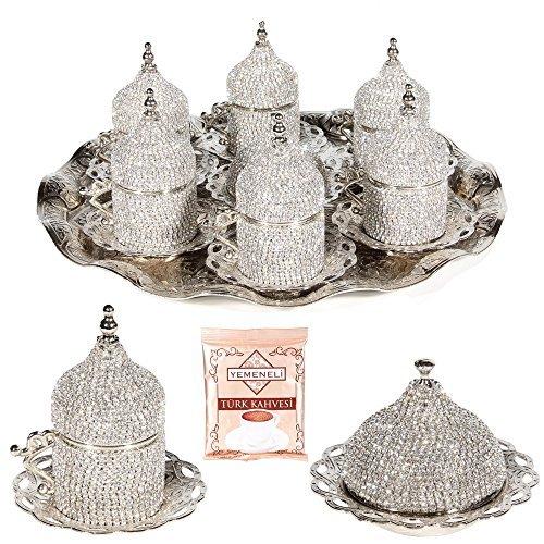 27 Pc Turkish Greek Arabic Coffee Espresso Cup Saucer Swarovski Crystal Set SILVER
