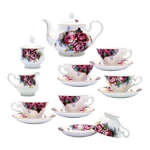 TransSino Treasures Fine Bone China 15 Piece Coffee Set Blossoms in Dark Fuchsia
