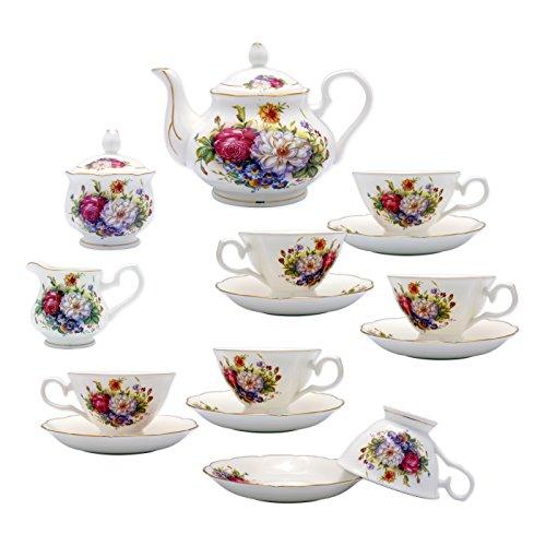 TransSino Treasures Fine Bone China 15 Piece Coffee Set Colorful Blossoms