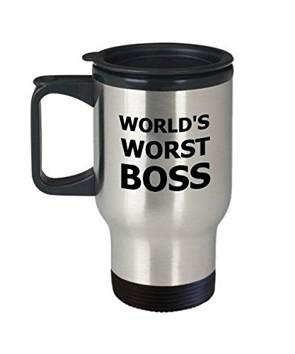 Worlds Worst Boss Travel Mug - Worlds Worst Boss Coffee Mug - Funny Gag Office Novelty Insulated Tumbler Gift Cup
