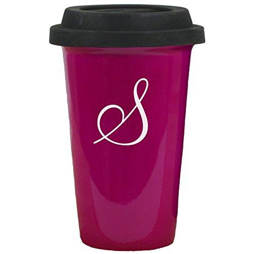 Ceramic Travel Mug 14 oz Black Silicon Lid Initial S Engraved