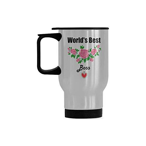 Worlds Best Boss Travel Mug Stainless Steel Tea Cup 14 Ounce  Coffee Mug Funny Gift Ideas