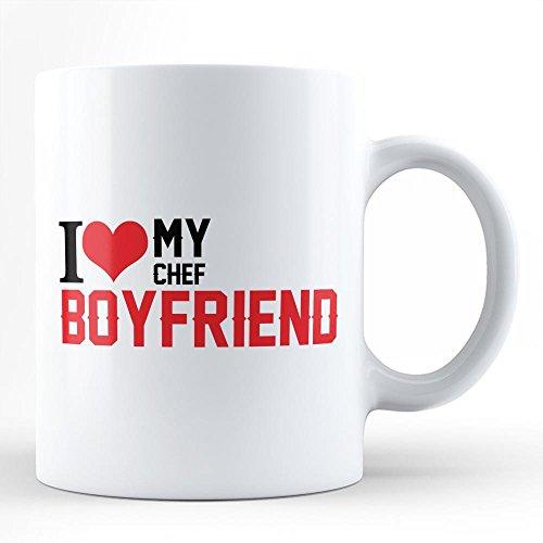 CHEF BOYRFRIEND VALENTINES DAY GIFT Best Gift for Valentines Day for Chef White Coffee Mug Unique Minimal Typography By HOM