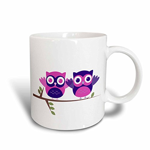 3dRose Baby Owls Perched on a Branch in Purple and Pink Ceramic Mug 11-Ounce