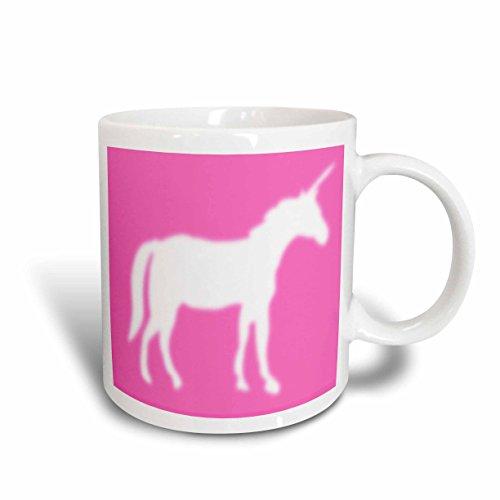 3dRose White Unicorn Silhouette on Hot Pink Ceramic Mug 15-Oz