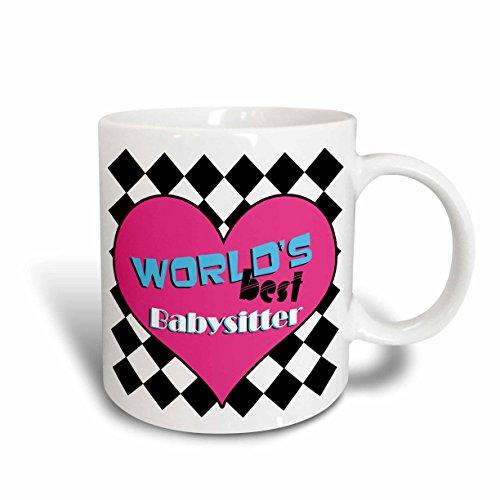 3dRose Worlds Best Babysitter Pink Ceramic Mug 15-Ounce