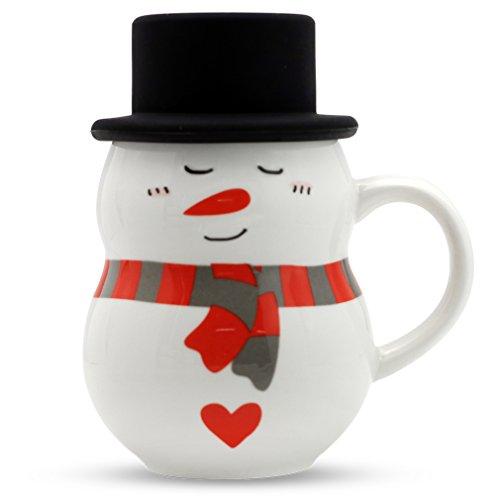 Asmwo Christmas Mug Cute 3D Snowman Mug Coffee Tea Mug With Silicone Lid Christmas Gift for Kids Teens Girls Boys Women Men 12 oz-A