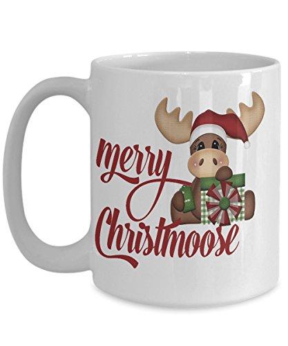 Merry Christmoose Cute Christmas Coffee Mug - White Ceramic