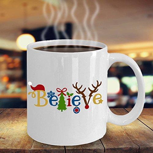 SAYOMEN - Christmas Coffee Mug - Believe in Christmas Icons Mug - Secret Santa Gift - Cute Christmas Mug for Santa - Christmas Party Gift MUG 15oz